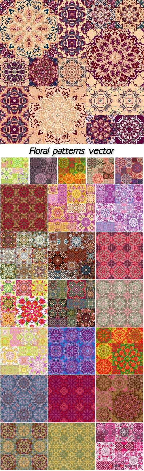 Floral patterns, vector backgrounds with colored patterns and flowers