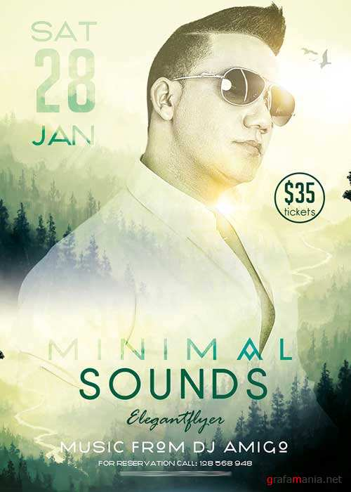Minimal Sounds Flyer PSD Template + Facebook Cover