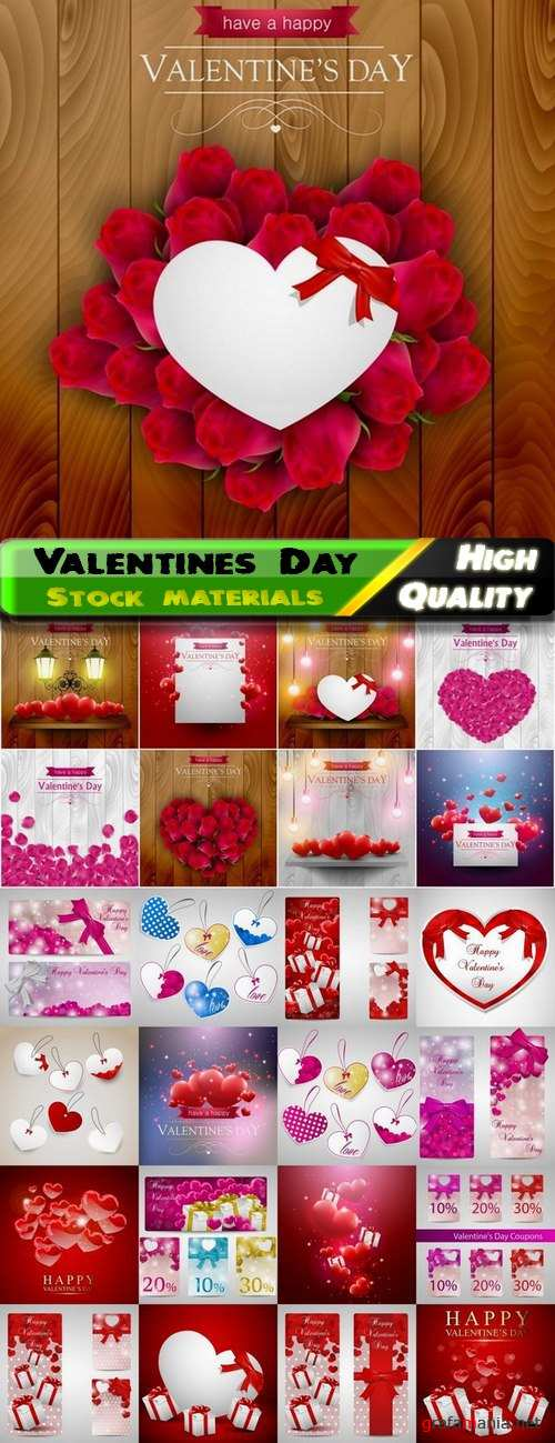 Romantic cards for Valentines Day with hearts and flowers - 25 Eps
