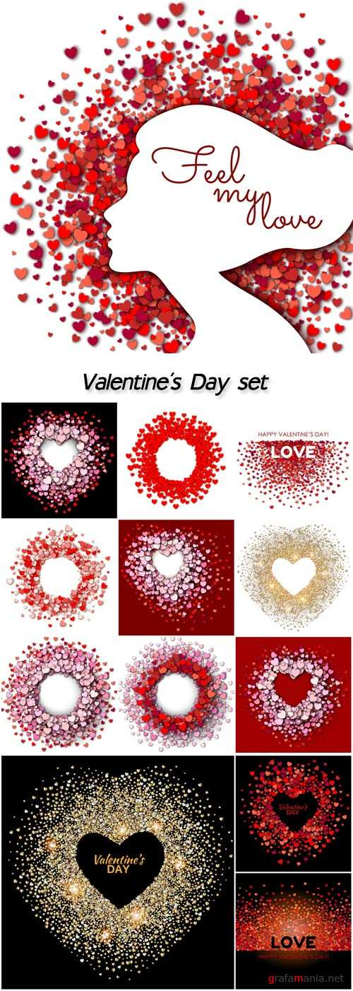 Valentine's Day, vector illustration with hearts