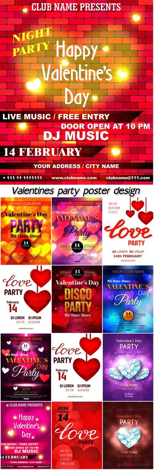 Valentines party poster design