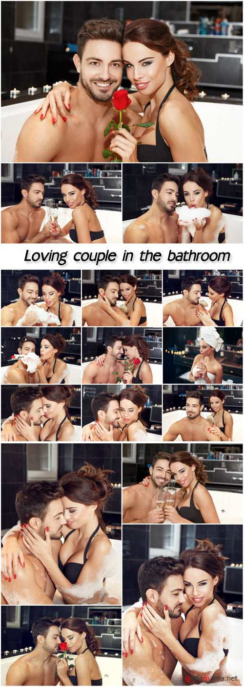 Loving couple in the bathroom