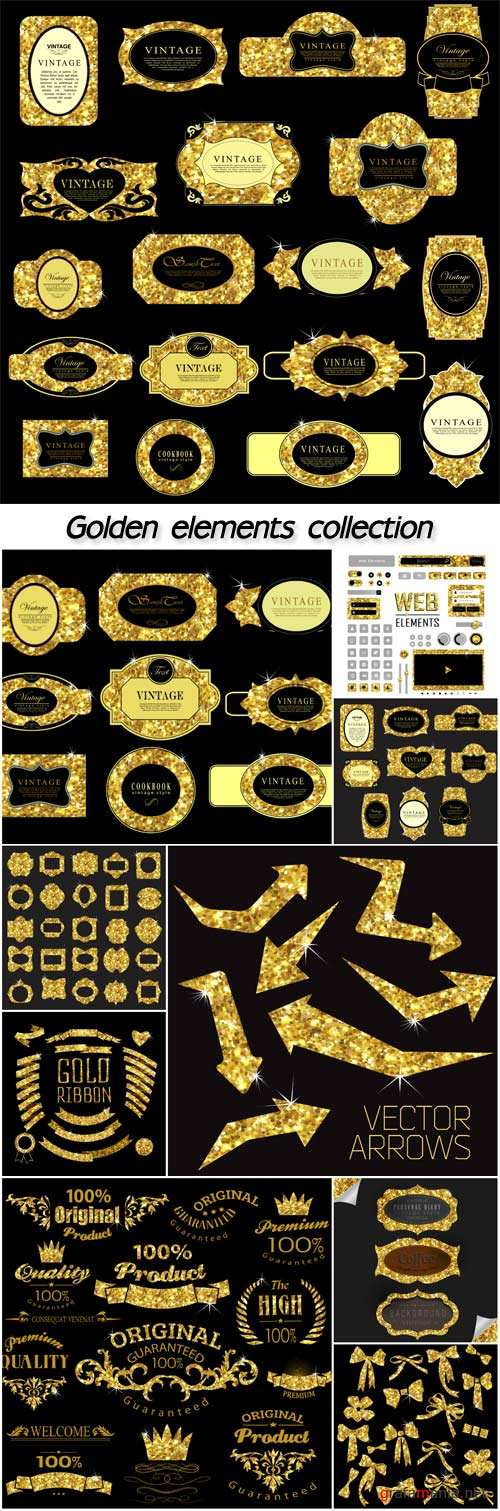Label and frame of gold glittering stars, golden elements collection