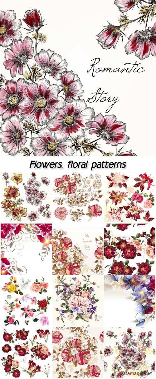 Flowers, floral patterns vector