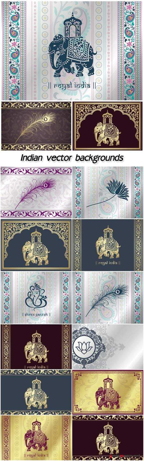 Indian vector backgrounds with patterns and elephants