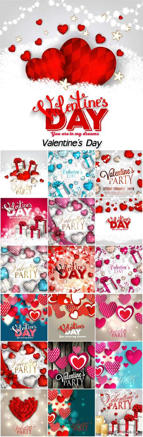 Valentine's day party Invitation with hearts and garland