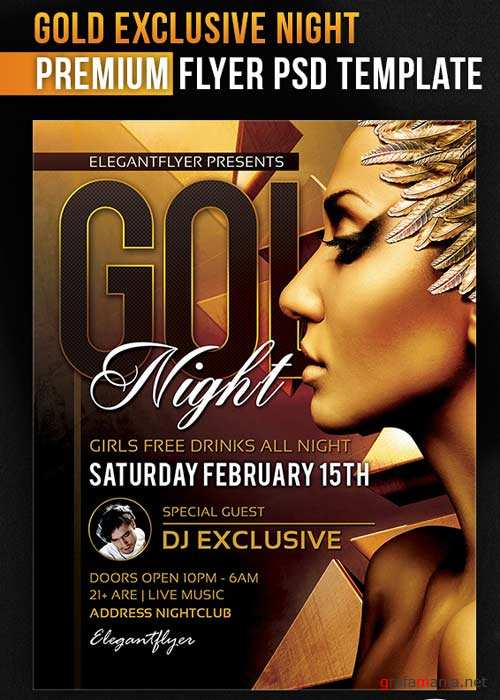Gold Exclusive Night Flyer PSD Template + Facebook Cover