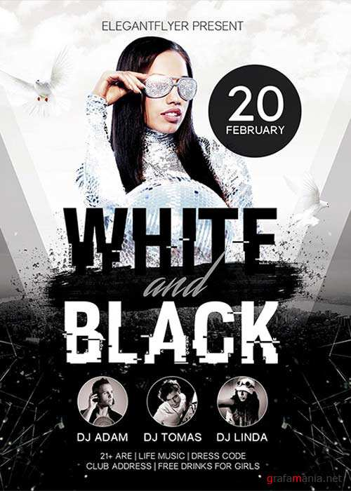 White And Black Flyer PSD Template + Facebook Cover