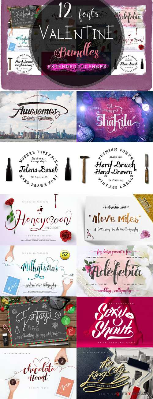 CM - 12 Font Valentine Day Bundle 499827