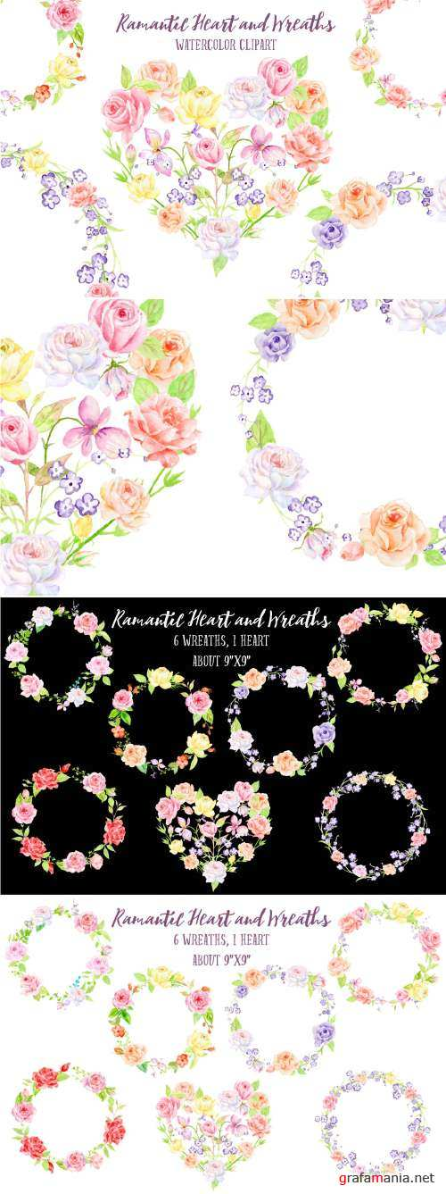 Watercolor Rose Wreath and Heart 492268
