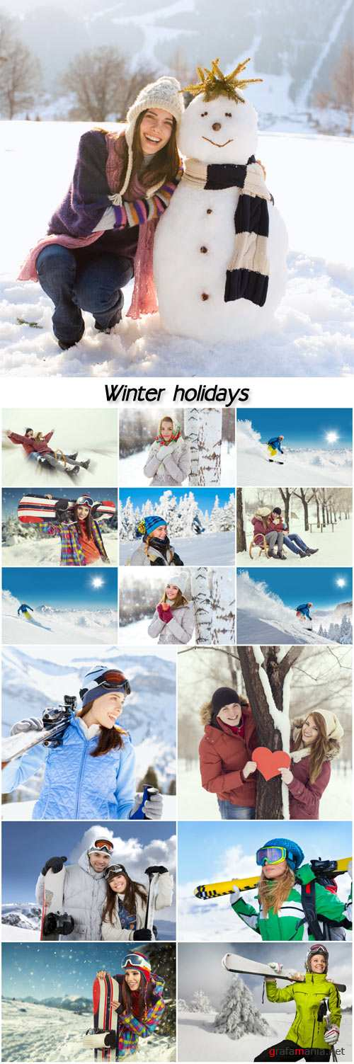 Winter holidays, people in nature