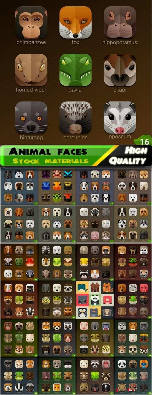Icons with animal faces for application design - 25 Eps