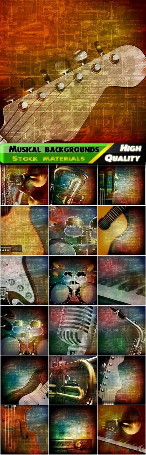 Musical backgrounds with music instruments - 20 Eps
