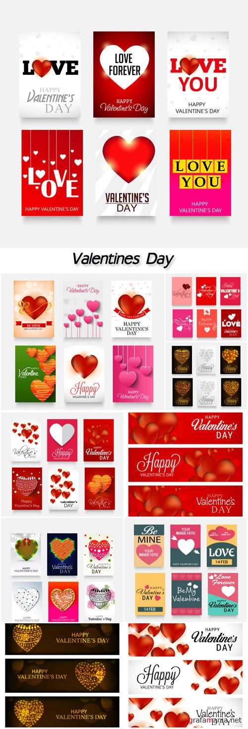 Vector illustration of a beautiful brochure set for happy Valentines Day