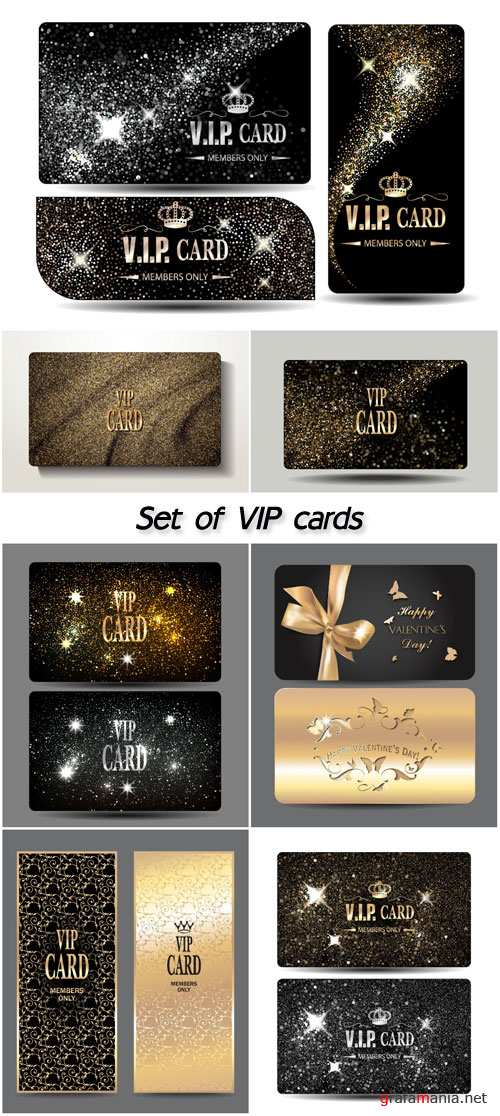 Set of VIP shiny gold and silver cards