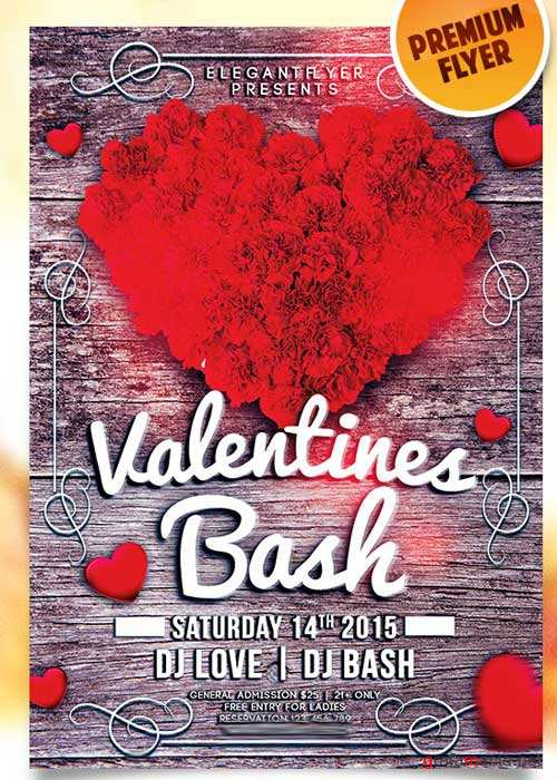 Valentines Bash Flyer PSD Template + Facebook Cover