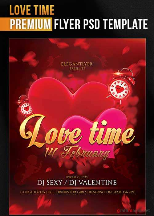 Love Time Flyer PSD Template + Facebook Cover