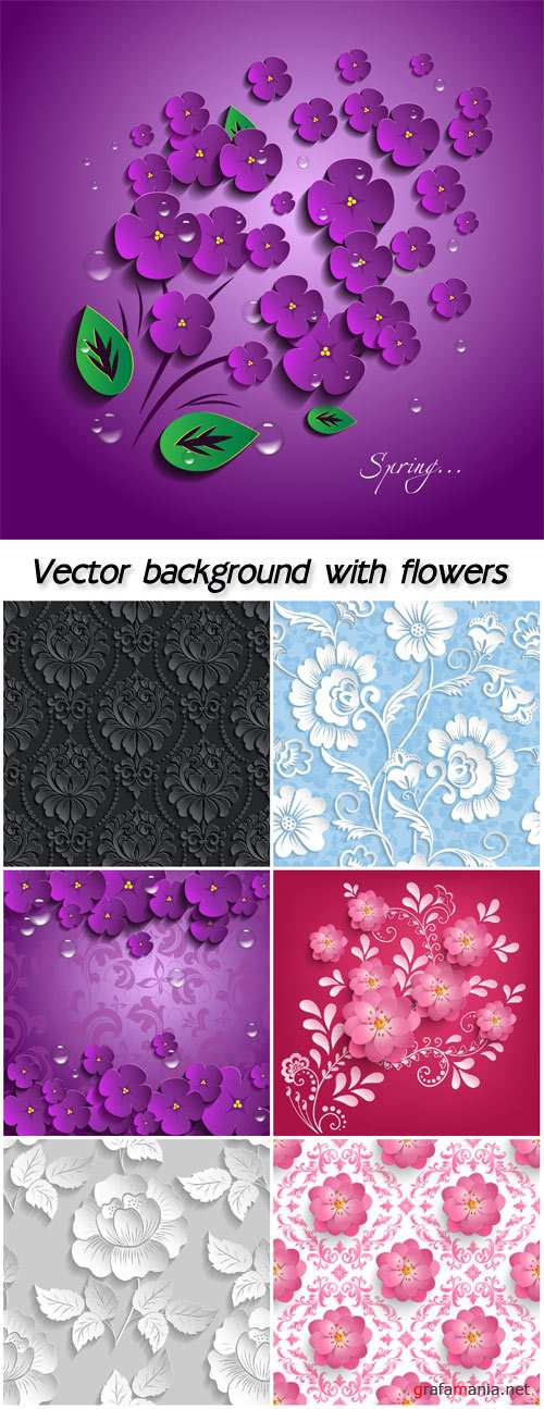 Vector background with flowers, 3D effect
