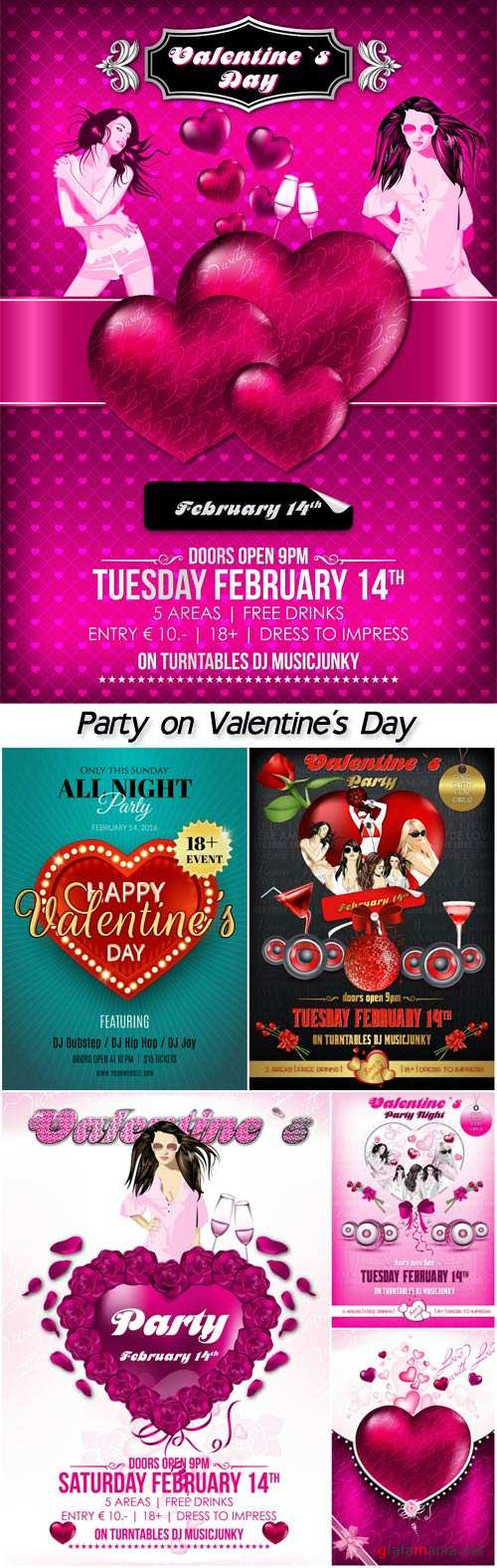 Party on Valentine's Day, vector posters