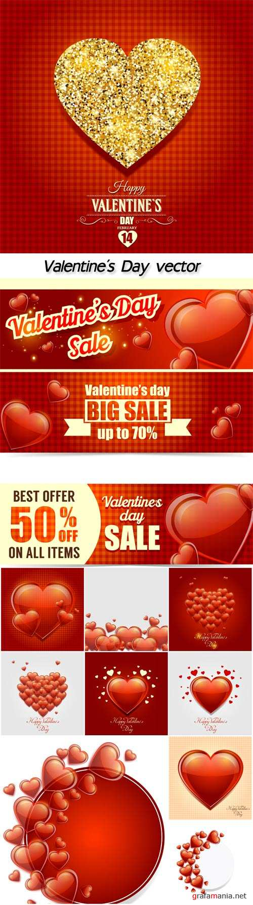 Valentine's Day, red hearts, vector backgrounds