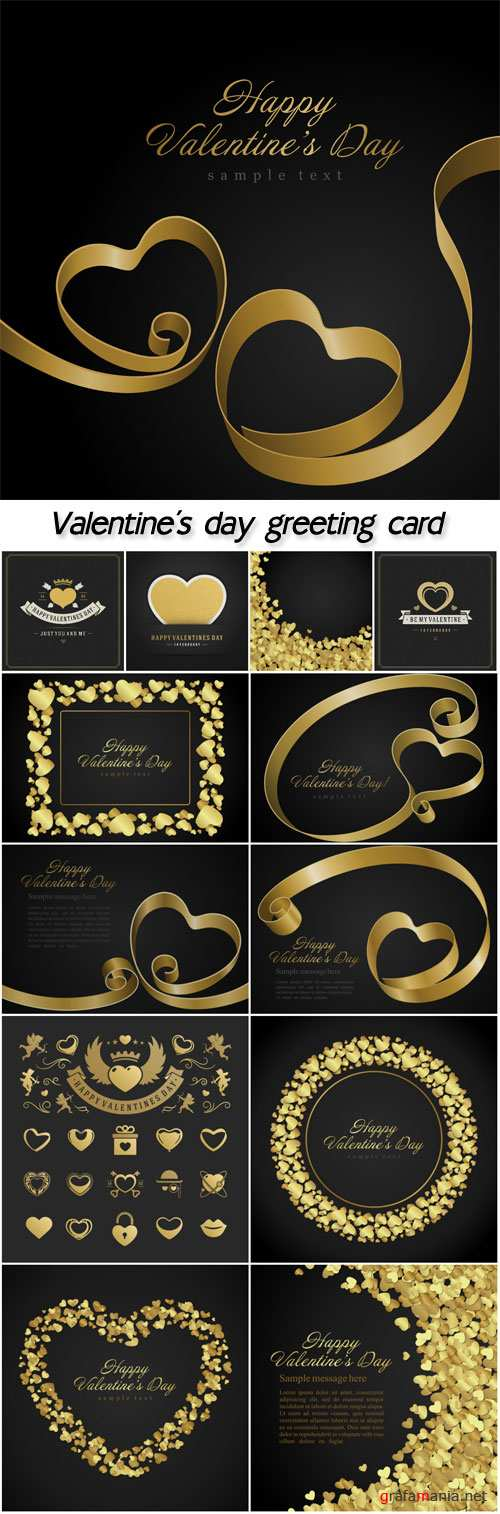 Heart from golden shiny ribbon Valentine's day greeting card vector background
