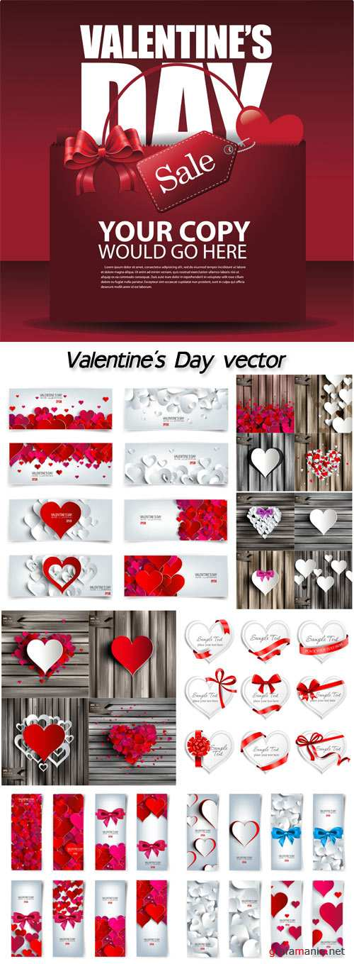 Valentine's Day, vector backgrounds, banners and labels