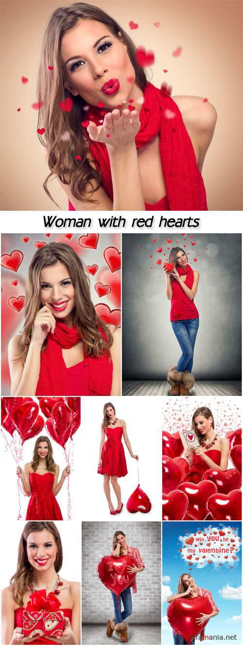 Woman with red hearts, Valentine's Day