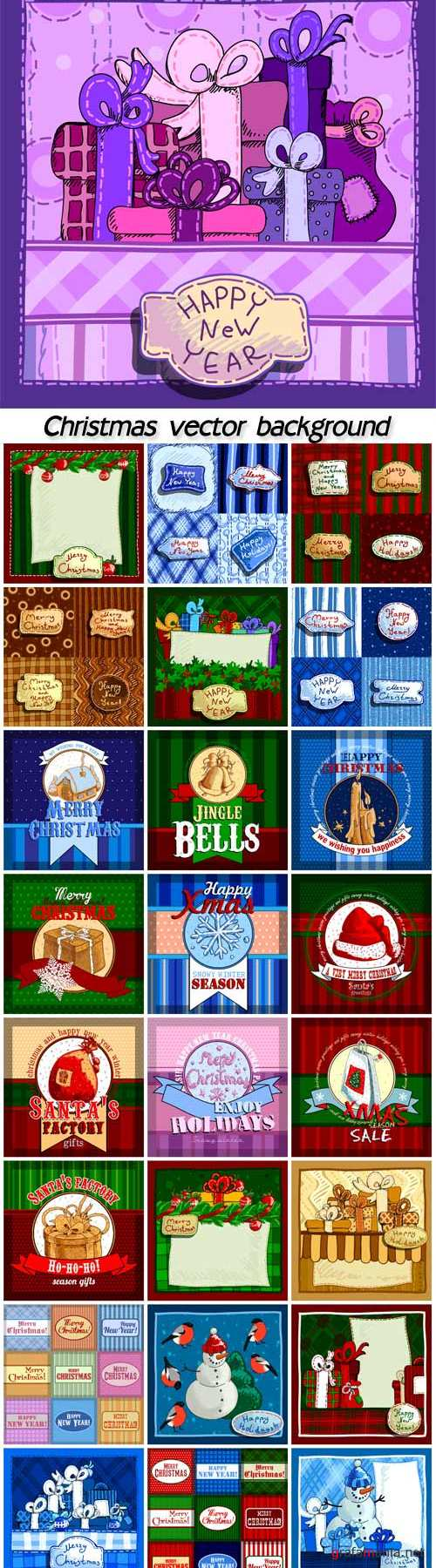 Christmas vector winter posters, New Year