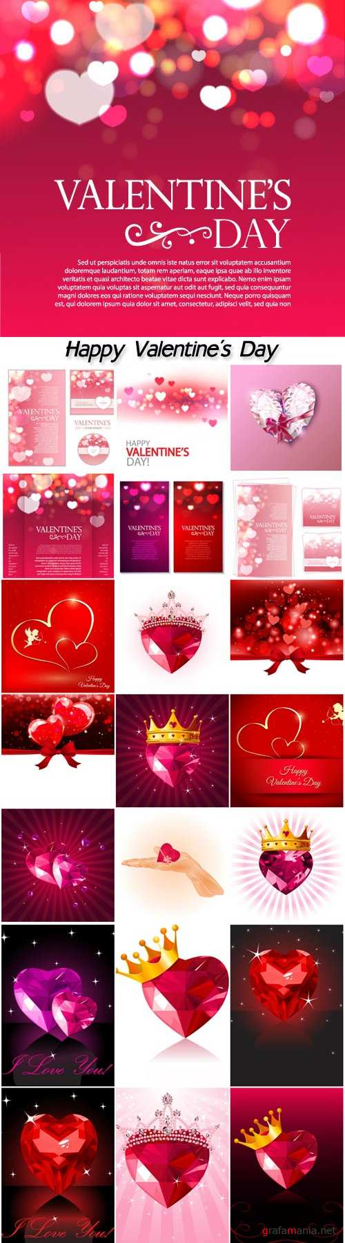 Valentine's day vector background with hearts and red ribbons
