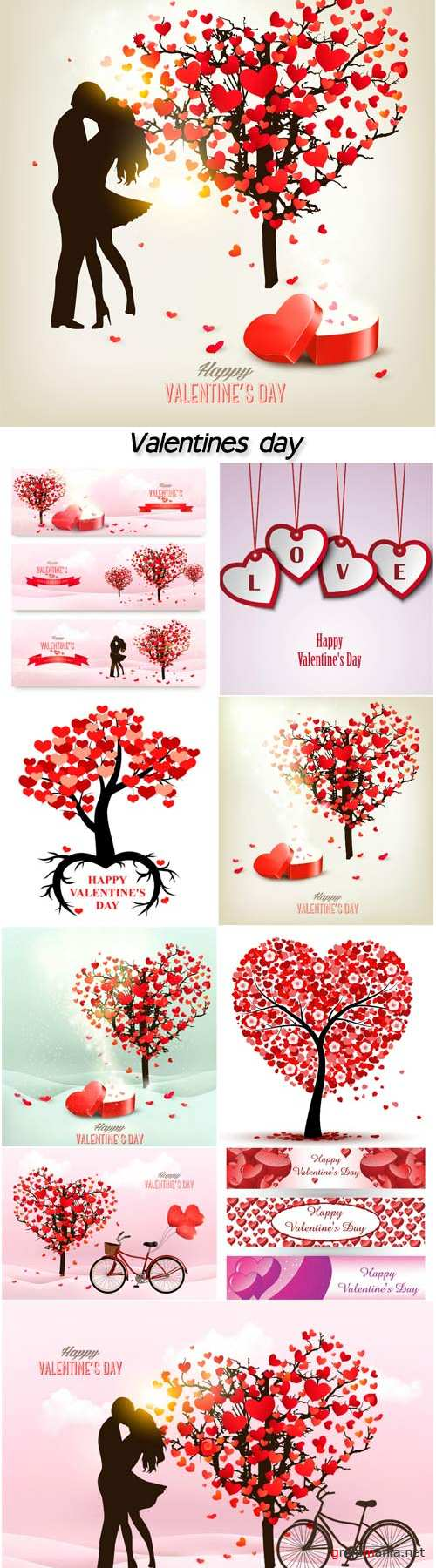 Holiday valentine day background with tree and romance silhouette