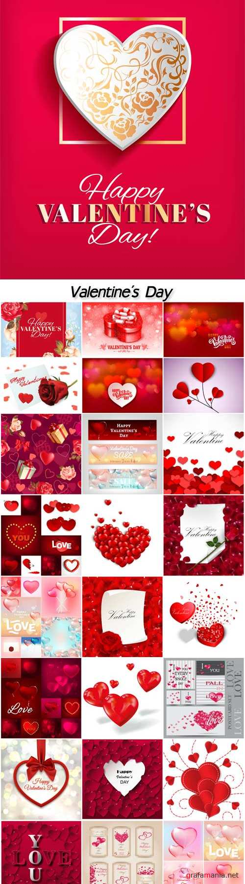 Valentine's Day set, vector backgrounds