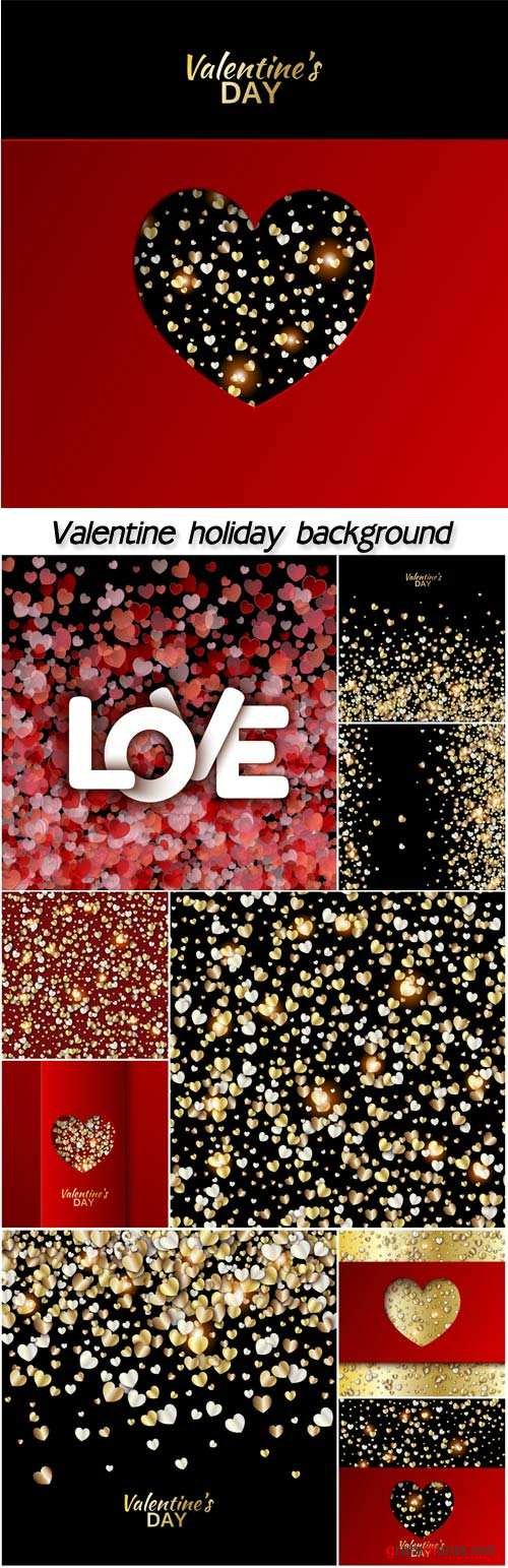 Valentine holiday background with red and gold hearts