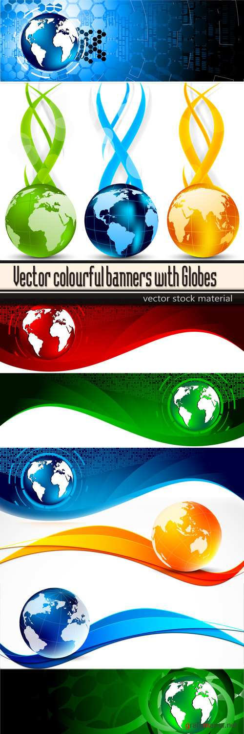 Vector colourful banners with Globes