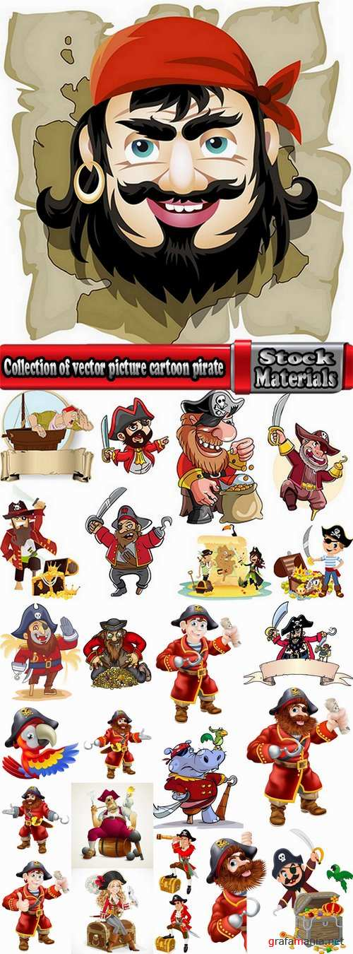 Collection of vector picture cartoon pirate sailor 25 EPS