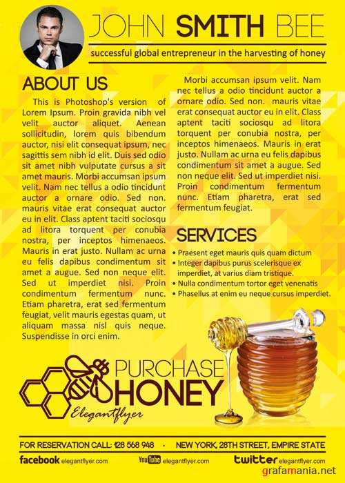 Purchase Honey Flyer PSD Template + Facebook Cover