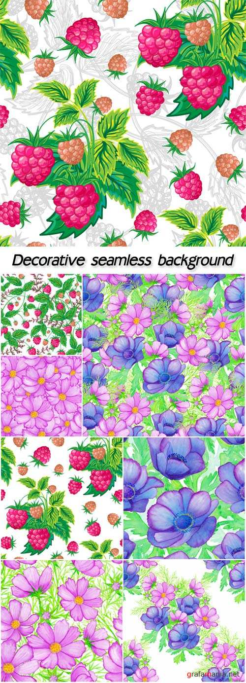 Watercolor decorative seamless background with a composition  and  flowers