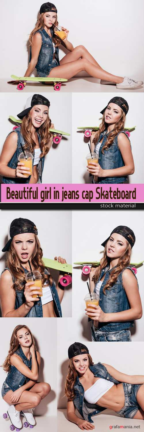 Beautiful girl in jeans cap Skateboard