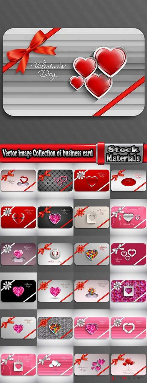 Vector image Collection of business card day valentine heart gift card 25 EPS