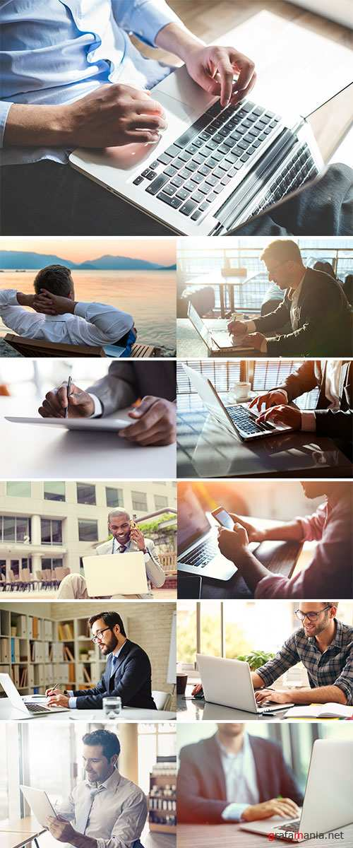 Stock Image Business man and laptop