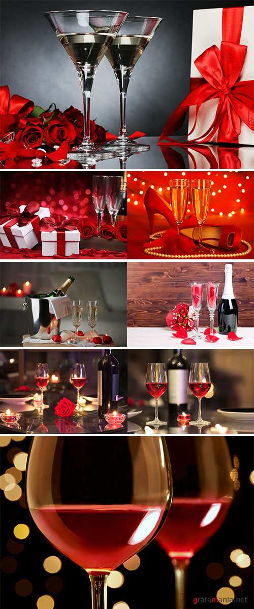 Stock Image Day Valentine present with glass of wine