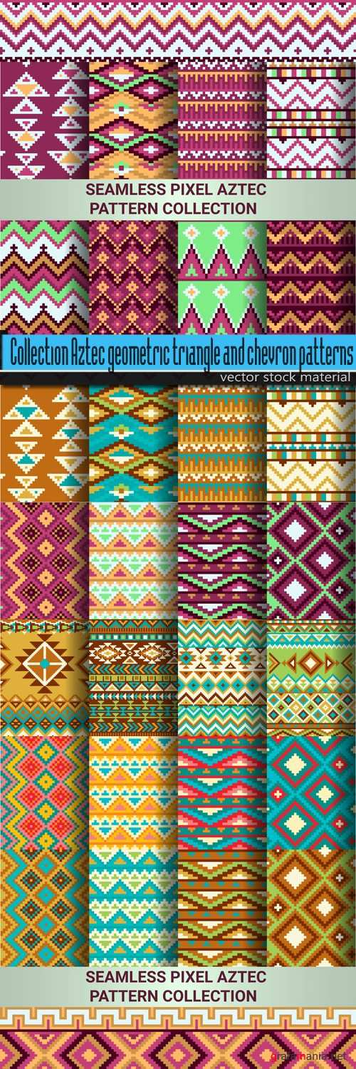 Collection Aztec geometric triangle and chevron patterns