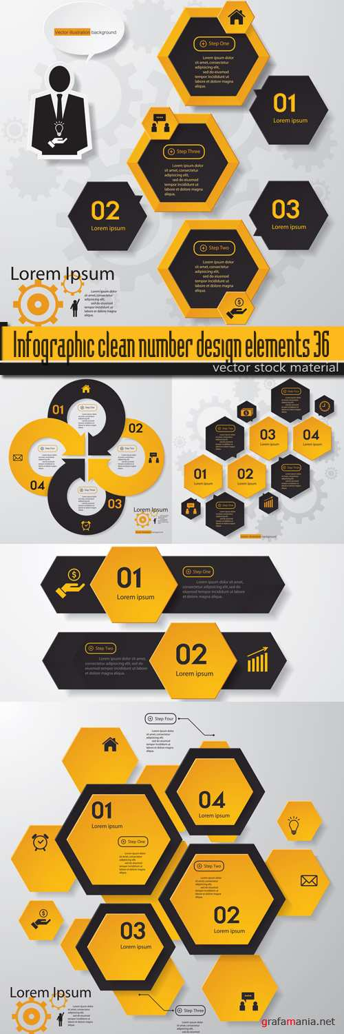 Infographic clean number design elements 36