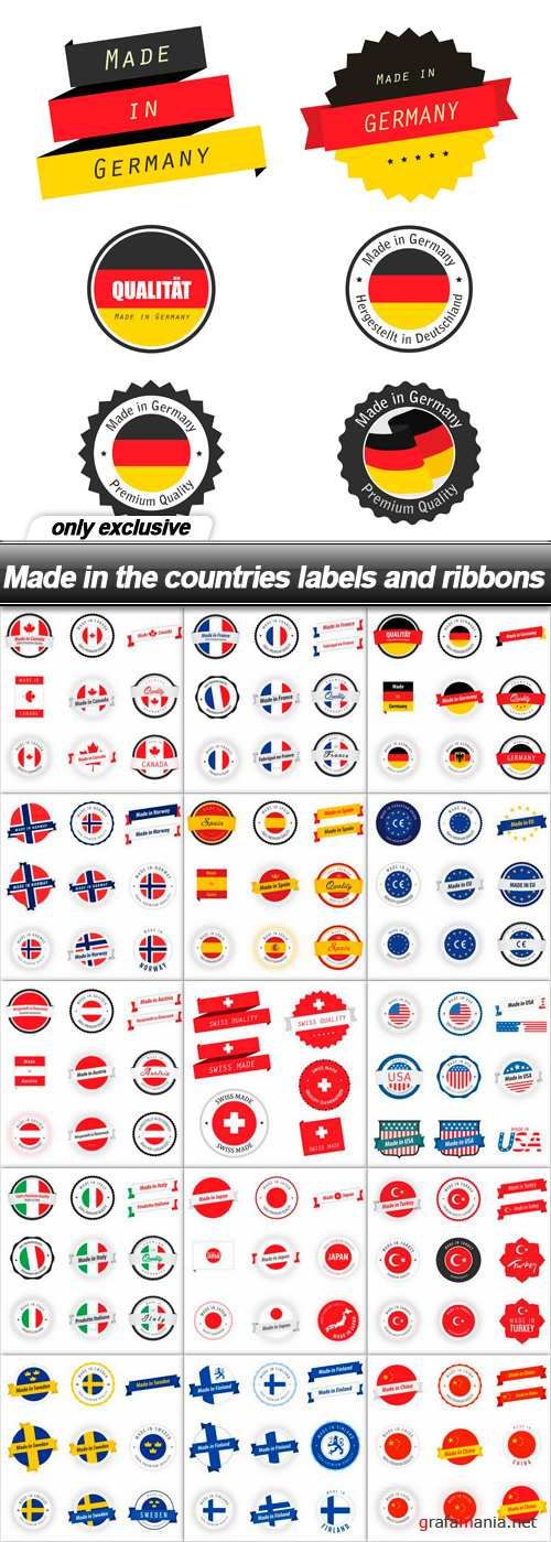 Made in the countries labels and ribbons - 16 EPS