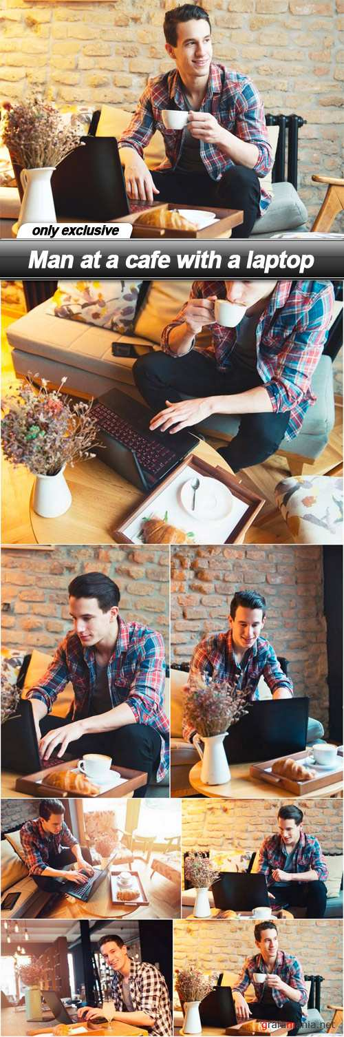 Man at a cafe with a laptop - 7 UHQ JPEG
