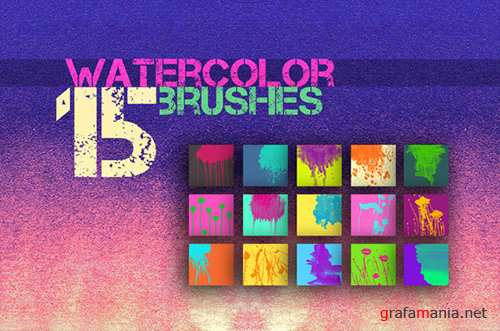 15 Watercolor Brushes for PS - Creativemarket 170073