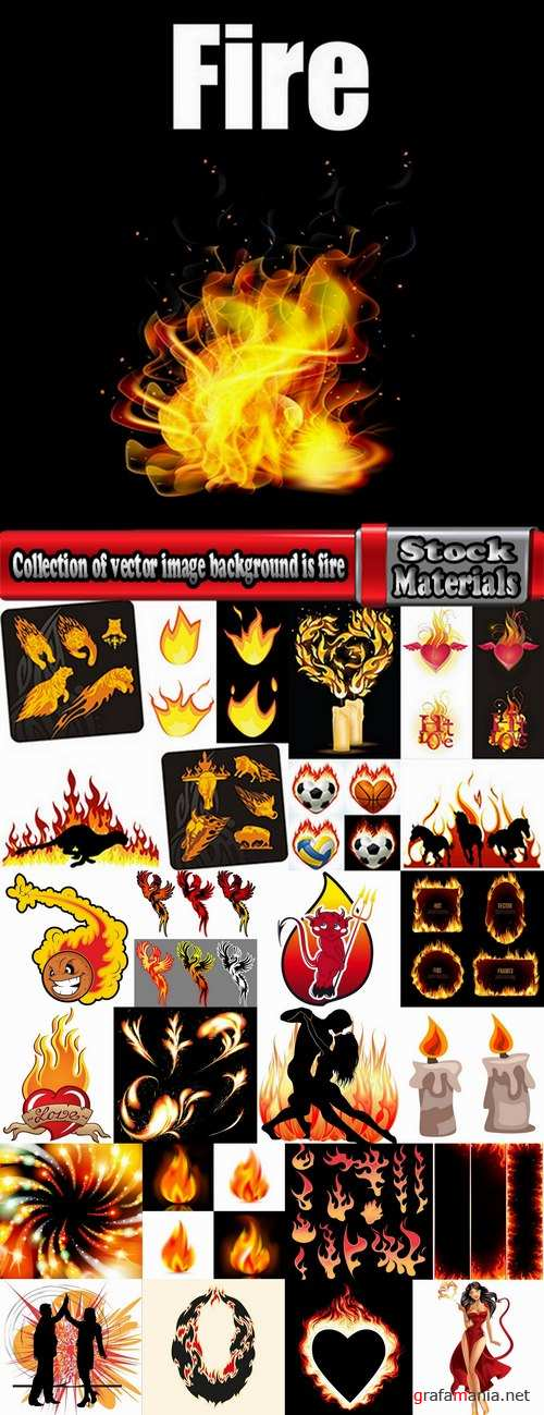 Collection of vector image background is fire fiery frame 25 EPS