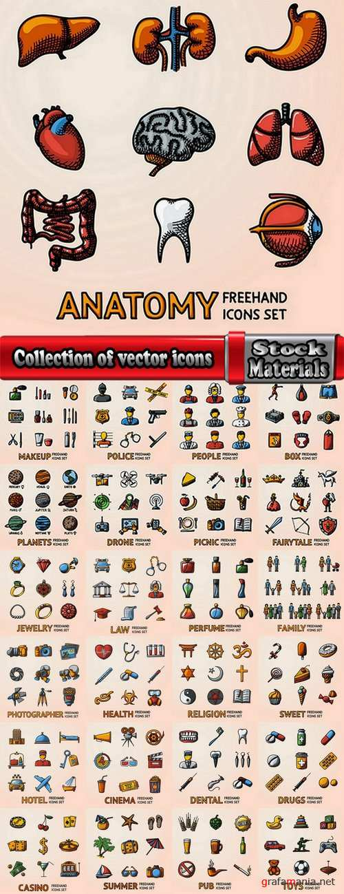Collection of vector icons flat picture on various subjects #3- 25 EPS