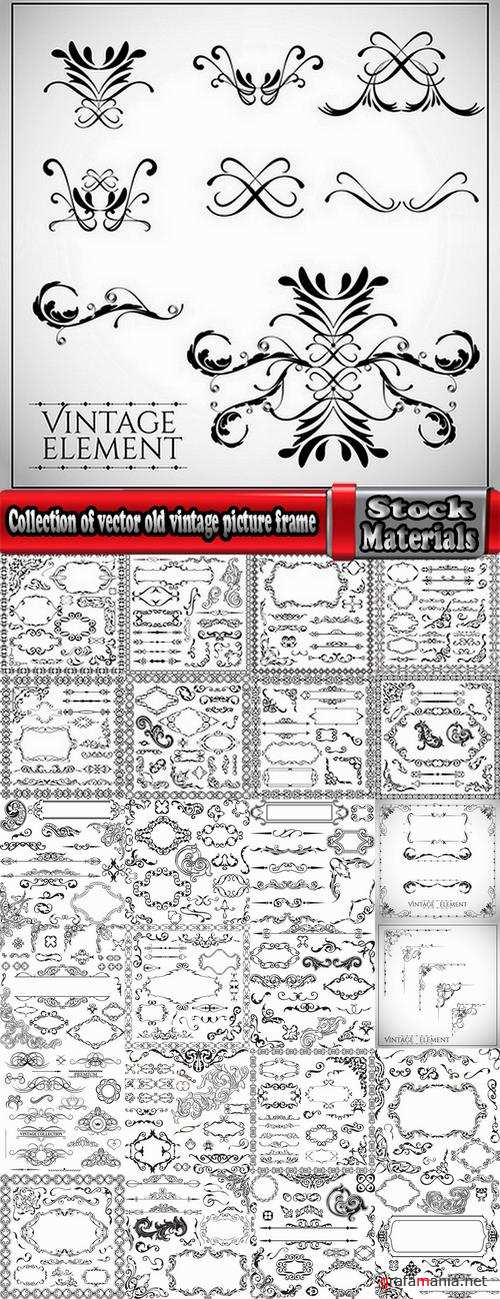 Collection of vector old vintage picture frame calligraphic design elements decoration 2-25 EPS