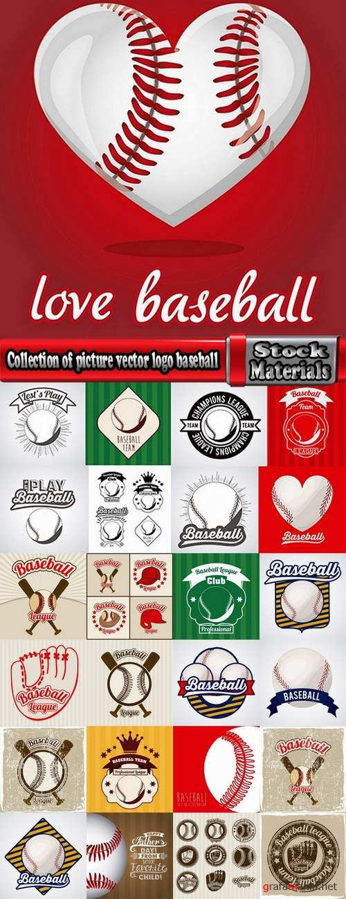 Collection of picture vector logo baseball sports 25 EPS