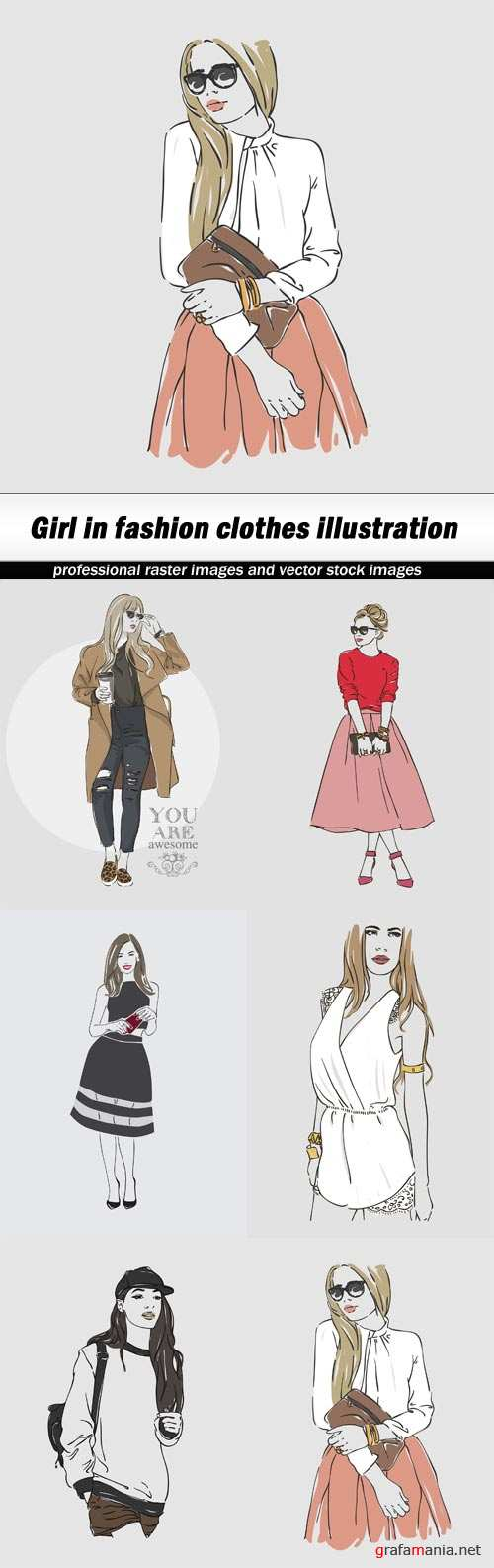 Girl in fashion clothes illustration